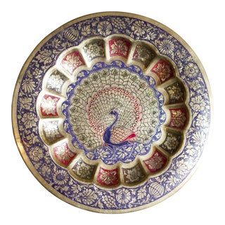 Vintage Indian Peacock Plate Tray