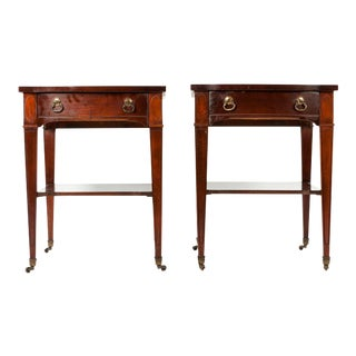 Vintage Leather Top Wood Side Tables - A Pair