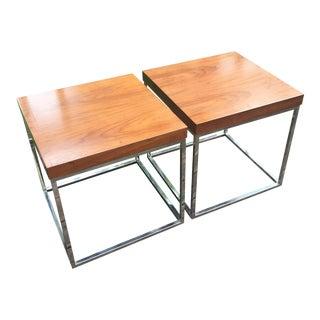 Mid-Century Modern Walnut & Chrome Side Tables - A Pair