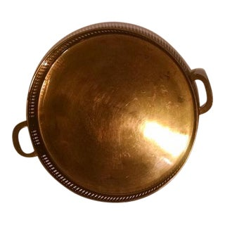 Vintage Round Solid Brass Tray with Handles
