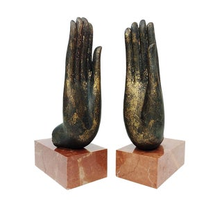 Mottahedeh Italian Bronze Hand & Marble Bookends-A Pair