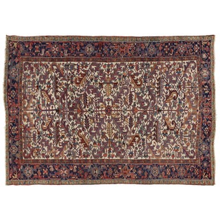 Antique Persian Heriz Area Rug with Modern Tribal Style - 7'2 x 10'1
