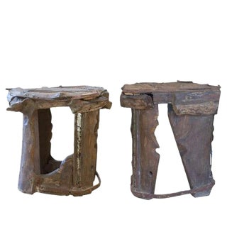 Mohanta Indian Wood Stools- A Pair