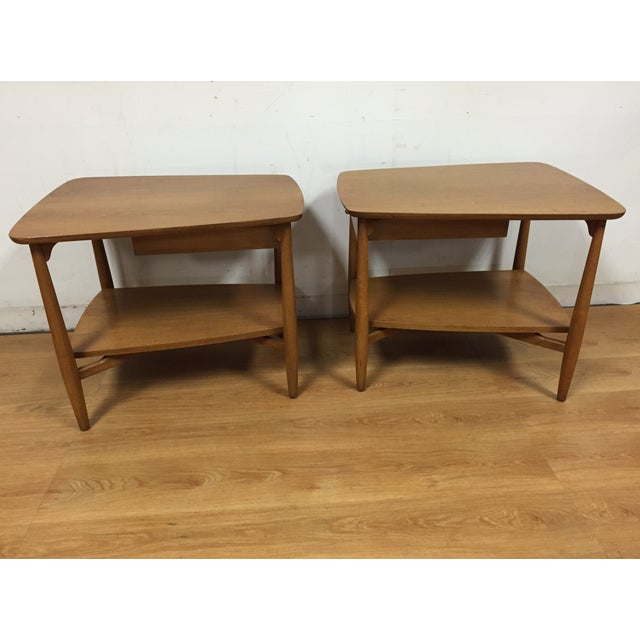 Bleached Walnut End Tables - A Pair - Image 4 of 5