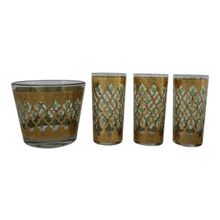 Culver Valencia Ice Bucket & Highball Cocktail Glasses - Set of 4