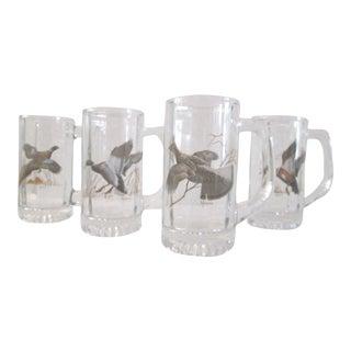 Wild Game Bird Glass Beer Mugs - Set of 4