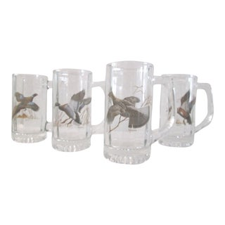 Wild Game Bird Glass Beer Mugs - Set of 4