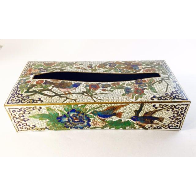 Vintage Cloisonné Enamel & Brass Tissue Holder - Image 2 of 4