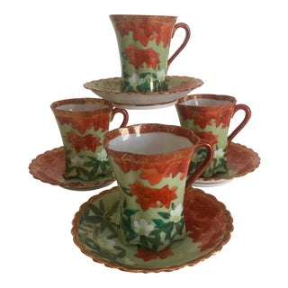 Mid-Century Japan Hand Painted Porcelain Tea Set - 8 Pieces