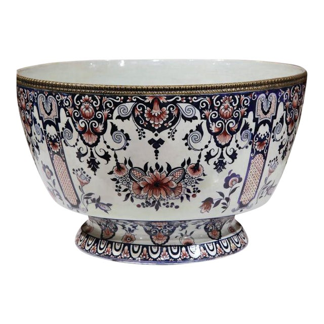 19th Century French Hand-Painted Faience Cachepot - Image 1 of 10