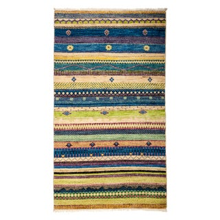 """Contemporary Hand-Knotted Striped Rug- 3' 2"""" x 5' 4"""""""