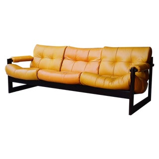 Percival Lafer Brazilian Mid-Century Leather Sofa