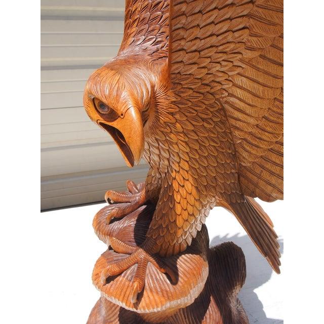 Wood Carved Eagle Sculpture - Image 4 of 6