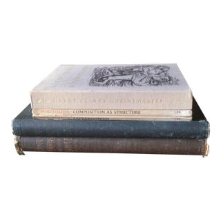 Vintage Oversized Gray Tone Decorative Books - Set of 5