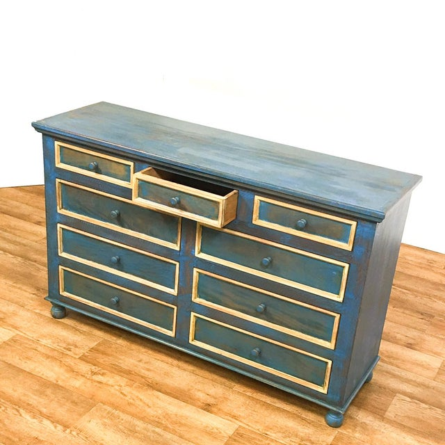 Reclaimed Solid Wood Distressed Blue Chest of Drawers/Dresser - Image 3 of 8