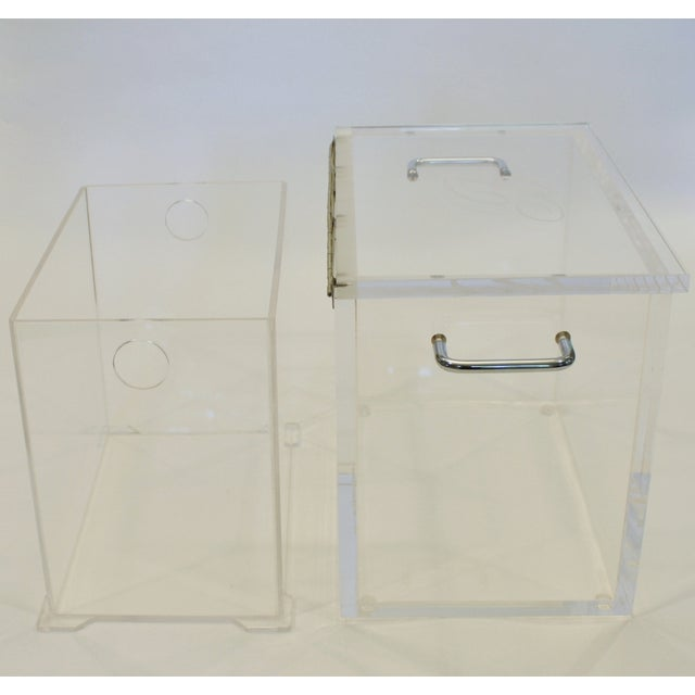 Image of Lucite and Chrome Ice Bucket