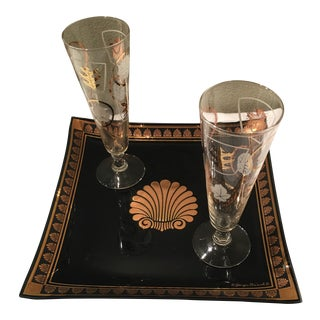 Vintage Art Deco Briars Gold Gilded Tray With Flutes - Set of 3