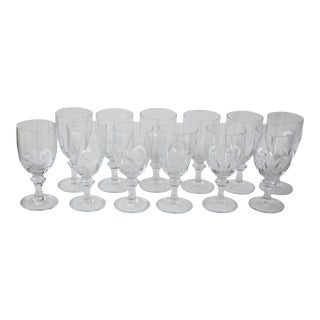 Italian Crystal Wine Goblets - Set of 12
