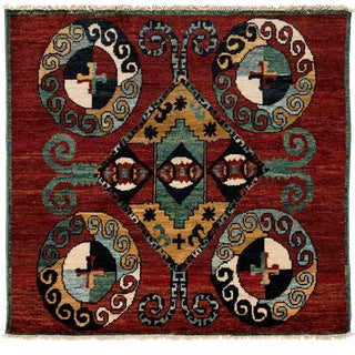 """New Contemporary Hand Knotted Area Rug - 5' x 5'5"""""""
