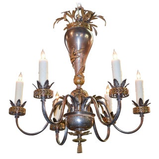 English Polished Steel & Brass Chandelier