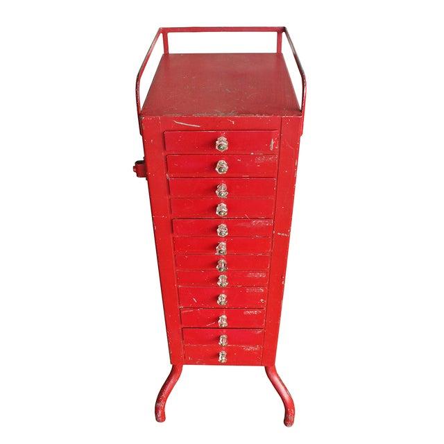Image of Antique Red Dental Cabinet