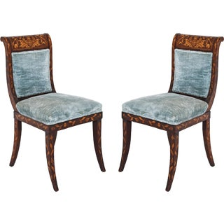 Dutch Inlaid Upholstered Chairs - Set of 4