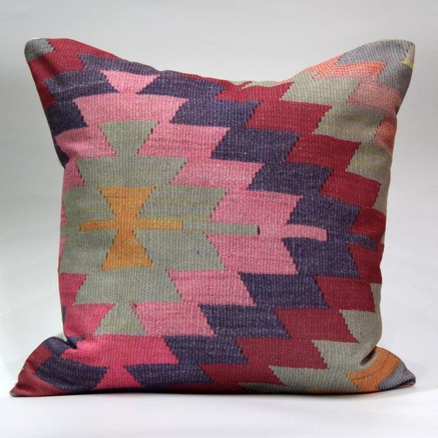 Image of Diamond Pattern Kilim Inspired Print Pillow - 18''