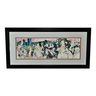 "Vintage 1988 Framed LeRoy Neiman Signed Lithograph ""Polo Lounge"""