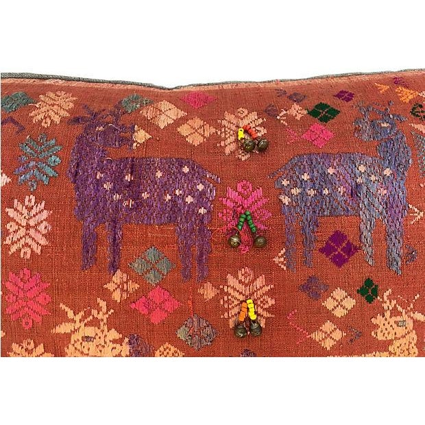 Antique Embroidered Textile Pillow - Image 3 of 8