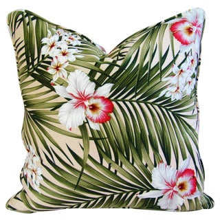 Custom Palm Leaf & Orchid Barkcloth Pillow