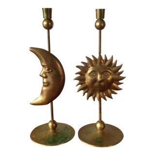 Vintage Brass Sun & Moon Candle Holders - A Pair