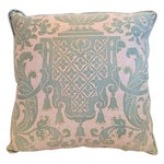 Image of Green & Cream Fortuny Carnavalet Vintage Pillow