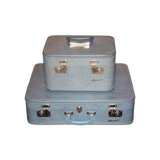 Vintage 1960s Monarch Suitcase and Beauty Case