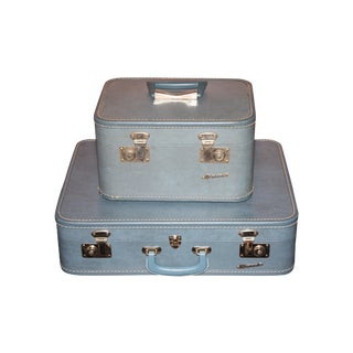 Vintage 1960s Monarch Suitcase and Beauty Case