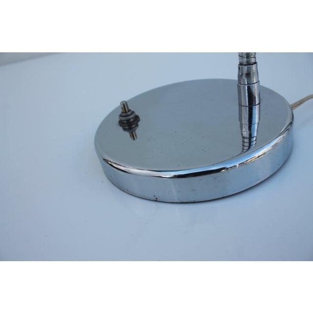 Image of Directional Vintage Chrome & Blue Shade Desk Lamp