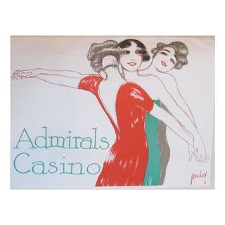 """Admirals Casino"" 1927 Lithographic Dancers Poster"