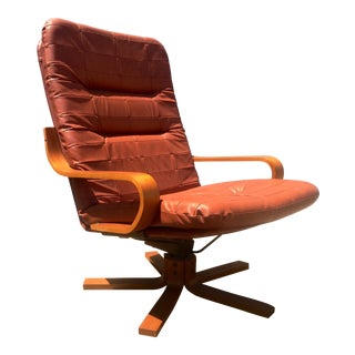 Vintage Teak & Leather Adjustable Lounge Chair