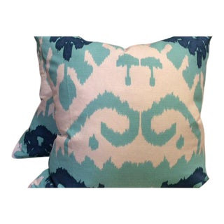 Quadrille Kazak in Blue, Green & White Pillow Covers - a Pair