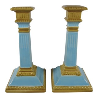 19th C. Wm. Brownfield Staffordshire Column Candlesticks - A Pair