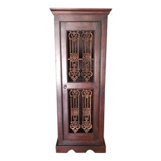 Indian Wood & Iron Wine Cabinet W/Shelf