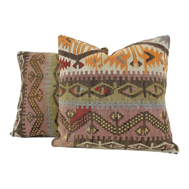 Turkish Tribal Hand-Knotted Vintage Kilim Cushion Cover - Pair - Image 1 of 5