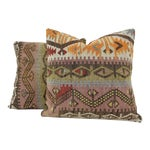 Image of Turkish Tribal Hand-Knotted Vintage Kilim Cushion Cover - Pair