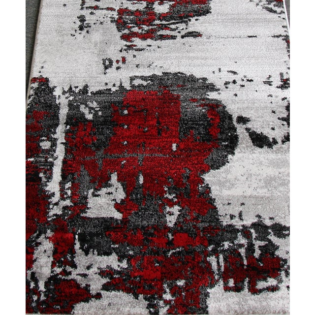 Image of Abstract Red Rug - 3′ × 10′
