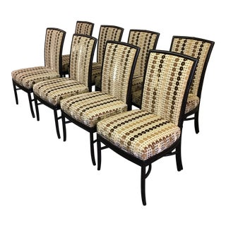 McGuire Upholstered Bamboo Dining Chairs - Set of 8
