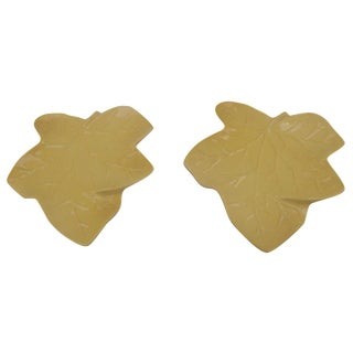 Ceramic Maple Leaf Wall Pockets - A Pair