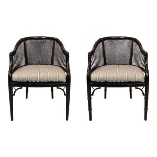 Lacquered Faux Bamboo Chairs - A Pair