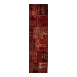 "Turkish Over-Dyed Distressed Patchwork Runner Rug - 2'7"" X 9'10"""