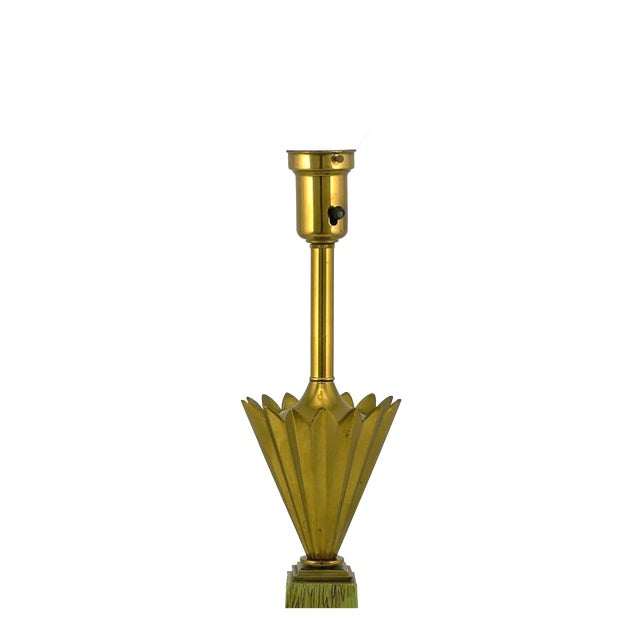 Image of Pair of Stiffel Brass Crown and Sage Lacquer Obelisk Table Lamps