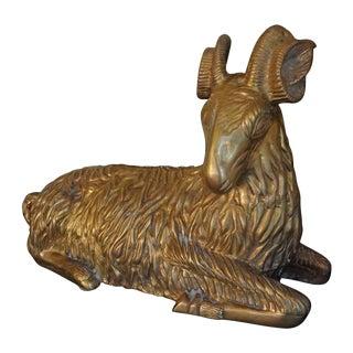Mid-Century Brass Ram Statue