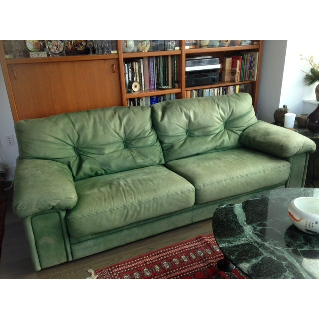 Roche Bobois Green Leather Sofa - Image 3 of 7